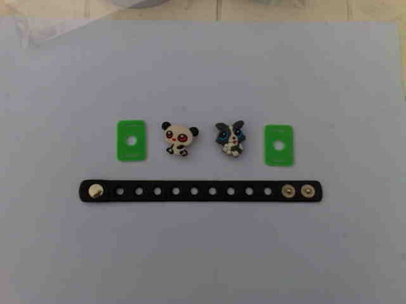 Kit F De 2 Jibbitz + Pulseira + 2 Suportes Pin Enfeite Crocs