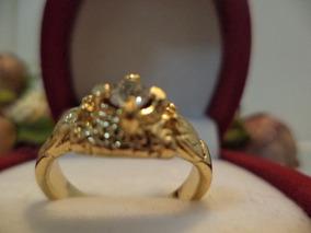 Anel Folheado A Ouro Com Cristal Swarovski