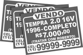 03 Adesivos Vende-se Veículo Carro Vidro Traseiro E Laterais