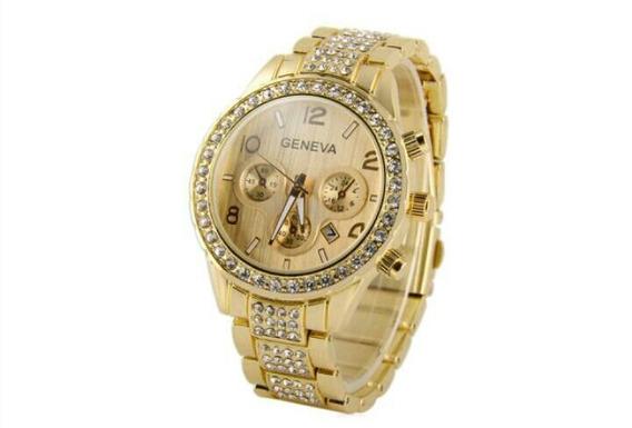 Relógio Geneva Feminino, Aço Inoxidável Corpo Diamante Deco
