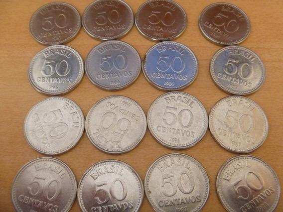 16 Moedas Aço Inox - 50 Centavos 1986, 1987, 1988