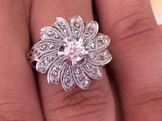 Anel De Platina Cravejado De Diamantes Naturais Aro: 21