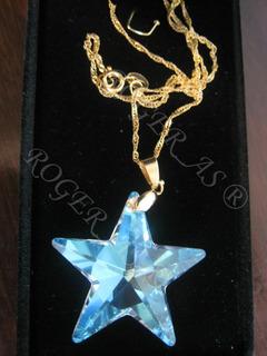 Colar Estrela Cristal Swarovski 2,8 Cm Folheada Ouro 18k