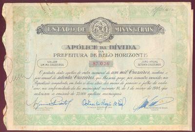 Apólice Do Estado De Minas Gerais Belo Horizonte 1948