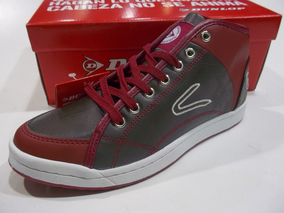 Zapatillas Botita Dunlop Crown Lady Lace Bordo