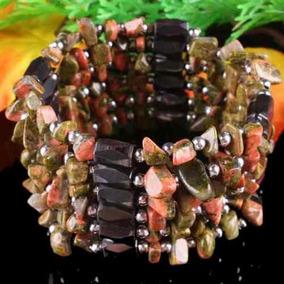 Colar/ Bracelete De Hematitas Magnetizadas E Pedras Unaquita
