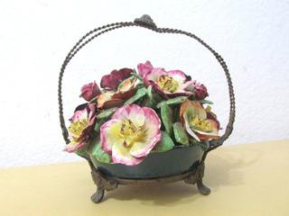 Canasto Florido Adorno Decorativo Porcelana Petit París Arg.