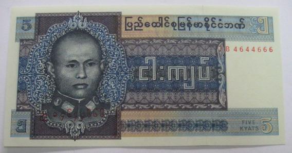 Burma: Bela Cédula De 5 Kyats 1973 Fe