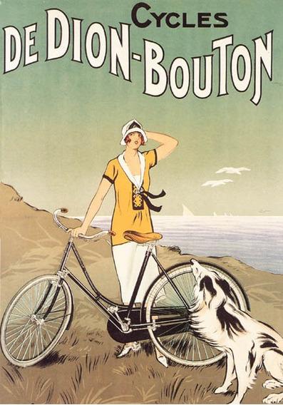 Moça Bicicleta Cachorro Dion Bouton Vintage Poster Repro