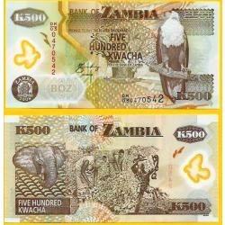 Zâmbia 500 Kwacha 2009 P. 43g Fe Cédula Polímero - Tchequito