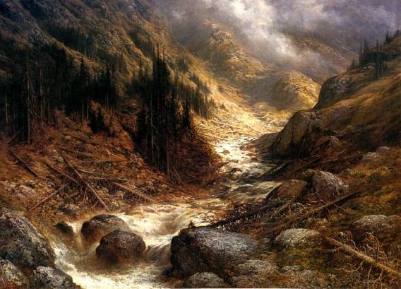 Correnteza Na Engadina Vale Alpino Pintor Dore Na Tela Repro