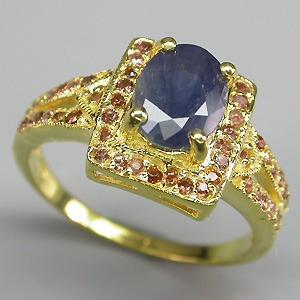 Anel Safira E Granada Ouro14 Sobre Prata 925