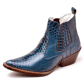 faa926d953acc Bota Texana Masculina Country Couro Nobre Verniz - Botas Azul com o ...