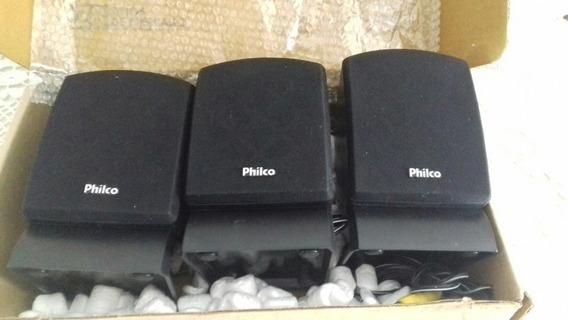 Kit 3 Caixas Satelite Para Home Theater Philco