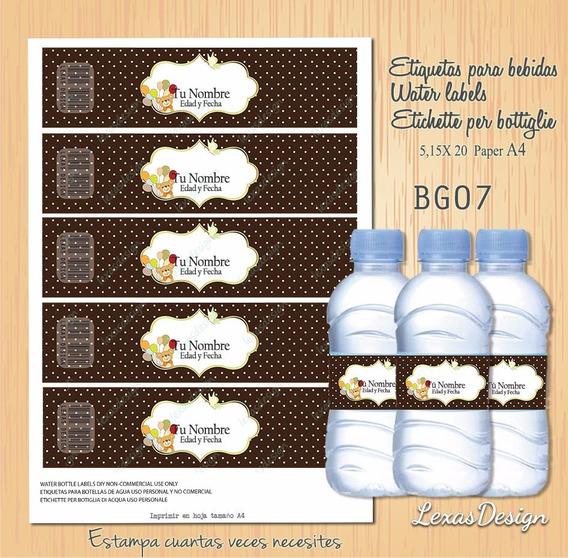 Etiquetas Botellas Bebidas Marron Candy Bar, Pdf Bg07