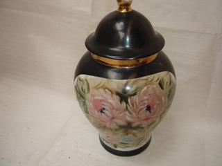 Decoração Antiga Anfôra Potiche Porcelana Floral Fios Ouro
