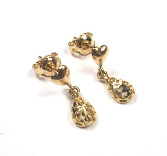 Brincos Mini Gotas Coracao Ouro 18k