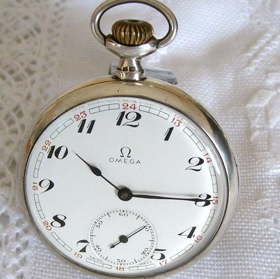 Relógio De Bolso Omega Em Prata.