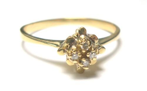 Anel Chuveiro 4 Diamantes Naturais Ouro 18k