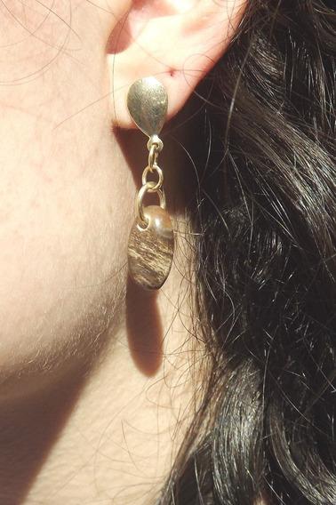Semi Joia - Brinco Jaspe Madeira Oval - Pedra Natural