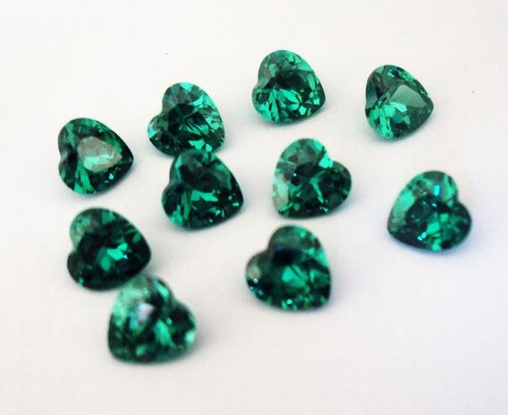 10 Esmeraldas Coração 5mm