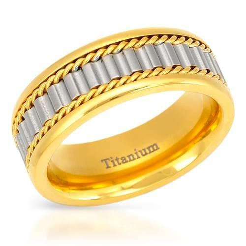 Anel Em Titaniun-14k/ti Gold Plated Titanium.