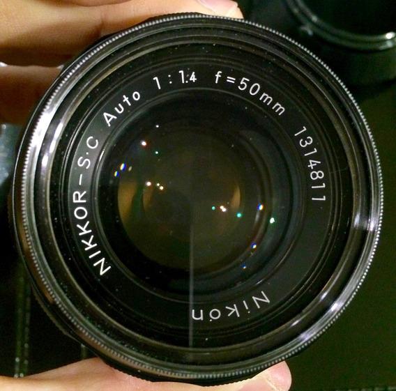 Lente Nikon 50mm F/1.4 Foco Manual 1.4 Com Parasol