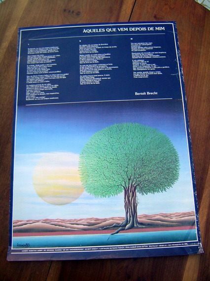 Cartaz Antigo Bertolt Brecht Ilustração Pedro Fogaça 1980