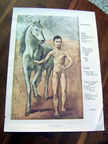 Cartaz Pôster Antigo Menino Conduzindo Cavalo Original