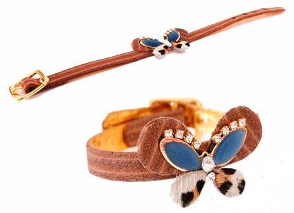 Bracelete Borboleta Com Strass E Detalhes Em Couro