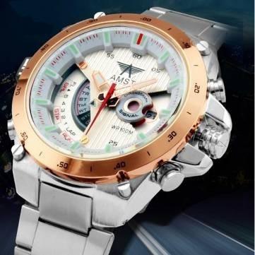 Relógio De Pulso Luxo Quartz Pulseira Aço Inox Analógico
