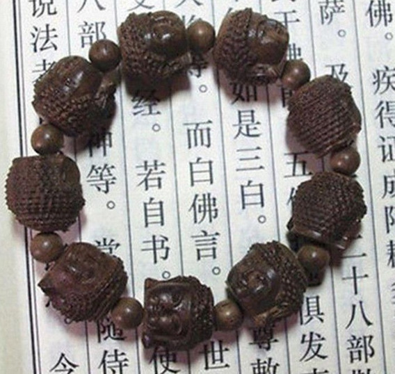 Bracelete Pulseira Elástico Rosto Buda Em Madeira Agarwood
