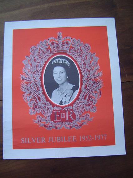 Cartaz Antigo Jubileu Prata Rainha Elisabeth Inglaterra Imp