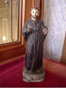 Antiga Estatueta De Santo Em Madeira