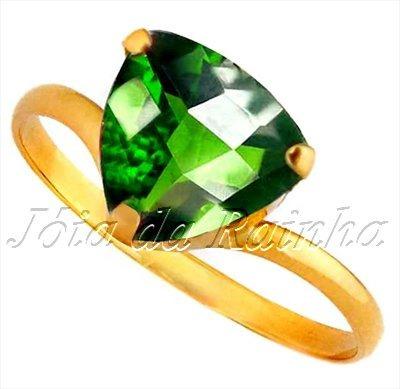 Anel Ouro 18klts Obsidiana Verde Masculino E Feminino
