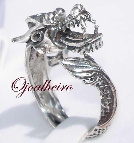 Anel Prata De Lei 950k Dragão Esculpido Regulável