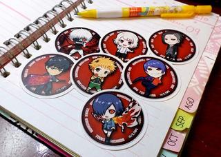Set De 7 Stickers Circulares De Anime - Tokyo Ghoul