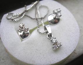 Ivi1388 = Delicado Cordão O.branco 18k Diamantes !!!