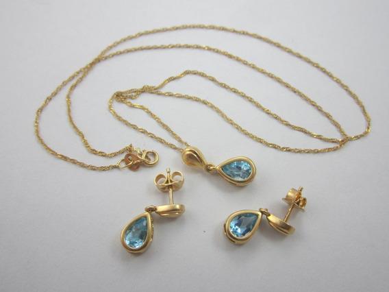 Lindo Conjunto Em Ouro 18k Com Pedras Azuis - 4.34gr