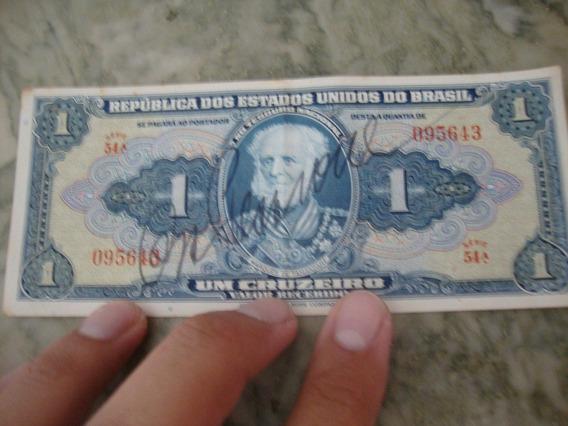 Nota Antiga Cédula Um Cruzeiro Assinada Serie 54a
