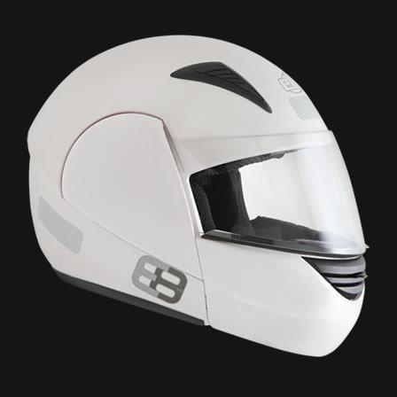 Capacete Ebf E8 Escamoteavel Preto Cinz Branco Fosco Robocop