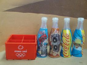 Miniatura - Quatro Garrafas De Coca-cola Com Um Engradado