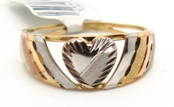 Anel Coração Em Ouro 18k 3 Tons De Ouro