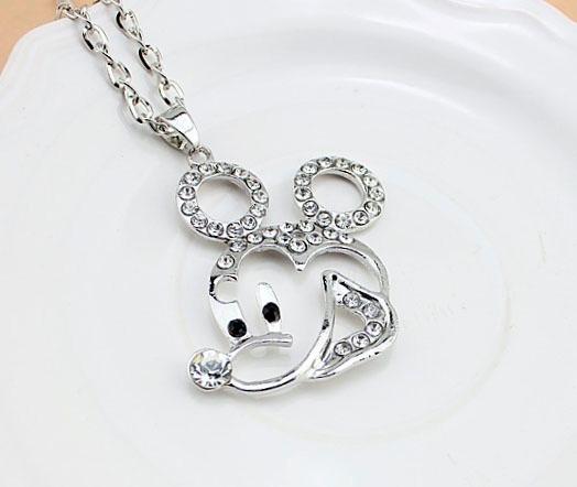 Collar Y Dije-raton- Mikey-mouse-cristales-flete Gratis