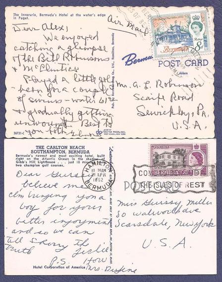 Bermuda Colonia Britanica 1962 Dos Postales De Hamilton -217