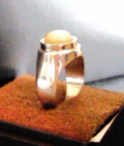 021 Bjr- Anel De Prata Maciça 950 K- Ouro 18 Kl- Madrepérola
