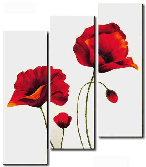 Conjunto 3 Quadros Pintura Tela Flores Papoulas