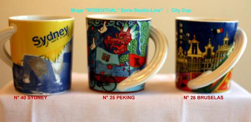 Tazones (mug) Porcelana Rosenthal, Diseño Ciudades