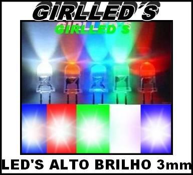 Mini Leds Alto Brilho 3mm - Escolha As Cores/30 Peças = R$20
