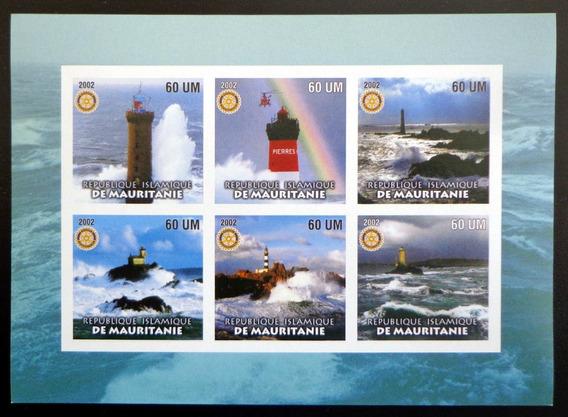 Mauritania Faros, Bloque 6 Sellos S Dentar 2002 Mint L7507